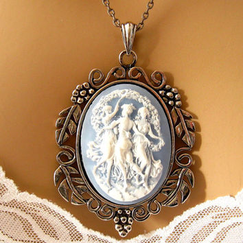 Light Blue Cameo: The Three Muses Blue Cameo Necklace, Ornate, Renaissance Cameo Jewelry, Neoclassical Jewelry, Greek Mythology