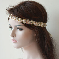 Wedding Hair Accessory,  Bridal Headband, Sequins Beads Handmade, Pearl  Headband,  Bridal Hair Accessory