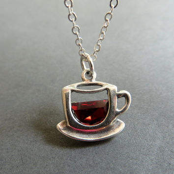Coffee Cup Necklace. Cup of Coffee Pendant. Sterling Silver Coffee Cup Pendant Necklace