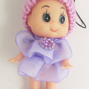 "Child Adorable Ornament Lavender Dress and Hat with Jewels 3"" x 2"""