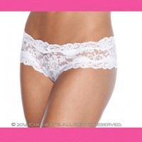 White Floral Lace Crotchless Panty