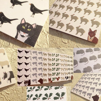 Animal cards, wonderful set of 6 hand-illustrated woodland creature greeting cards, great idea for a christmas gift, blank inside