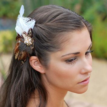 Fall Wedding, Bridal Head Piece, Brown Feather Fascinator, Hair Piece, Natural Wedding Hair Accessories, Bohemian Bride, Outdoor Wedding