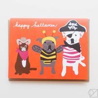 Pet Costumes Halloween Greeting Card