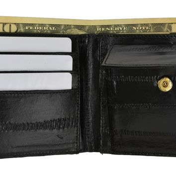 Eel Skin Soft Leather Bifold Credit Card Wallet with Coin Pouch E 59