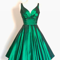Emerald Green Taffeta 50s Sweetheart Tea Dress - Made by Dig For Victory