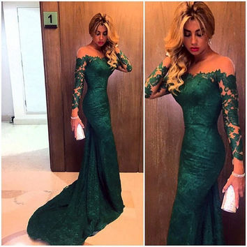 Fashion 2015 Emerald Green Mermaid Lace Evening Dress Custom Made Vestidos Long Sleeves Prom Dresses For Women Formal Occasion