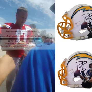 Philip Rivers Autographed Los Angeles Chargers Photo Riddell Mini Football Helmet, Proof Photo