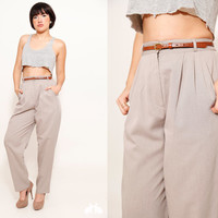 80s High Waist Light Gray Trousers, Pleated Pants with Pockets, Size 8, Made in USA