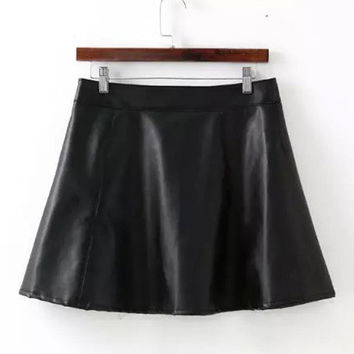 Black Faux PU Leather A-Line Mini Skater Skirt