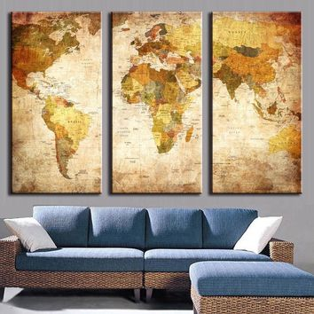 3 Pieces Modern Wall Painting On Canvas With World Map Oil Painting Unframed Home Decoration