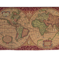 Old Map of the World Red Tapestry Wall Hanging