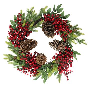 "22"" Artificial Pine Cone  Red Berry and Pine Sprig Christmas Wreath - Unlit"