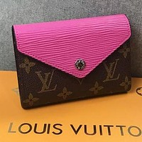 LV Louis Vuitton Popular Women Candy Color Leather Buckle Purse Wallet Rose Red