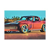 Red Sports Car Abstract Original Canvas Art