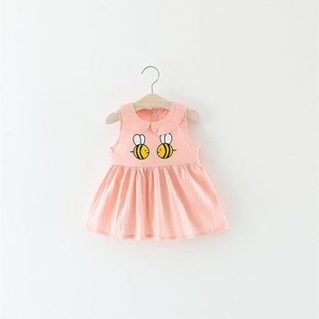 2017 Baby Dresses For Girls Bee Print Cotton Sleeveless Dress Princess Baby Girls Clothing Doll-Collar Dress For 0-2 Years Kids
