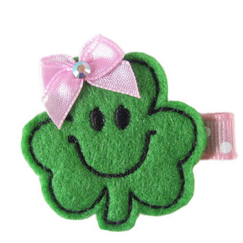 ON SALE -St. Patricks Day Shamrock Felt Hair Clip on Pink Swiss Dots - Holiday hair bows - Green Clover Hair Clip - Brooch Pin
