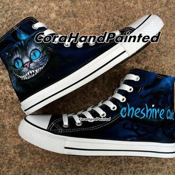 Custom Cheshire Cat Converse Custom Shoes Custom Hand Painted Shoes Canvas Shoes Custo