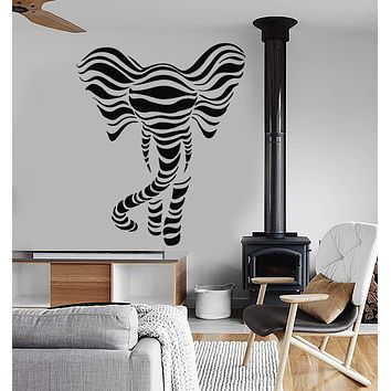 Vinyl Wall Decal Cartoon Abstract Art African Elephant Wave Animal Stickers (2743ig)