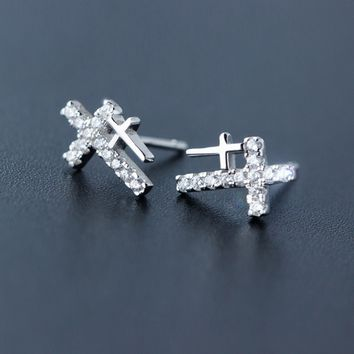 Personality double cross 925 Sterling Silver zircon earrings, a perfect gift
