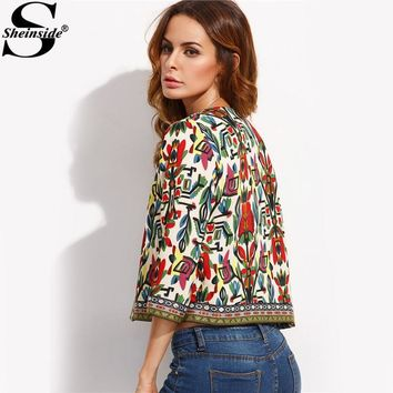 Trendy Sheinside Embroidery Outerwear Winter Tribal Print Office Ladies Women Coats and Jackets Vintage Autumn Long Sleeve Coat AT_94_13
