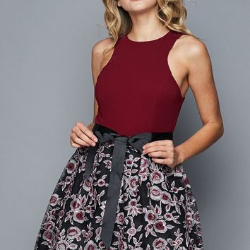 Teeze Me | High Neck Embroidered Skirt Party Dress | Burgundy/Black