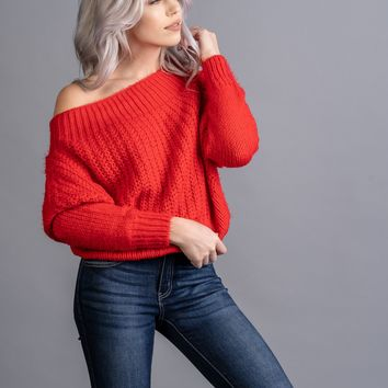 Falling in Love Red Off Shoulder Sweater