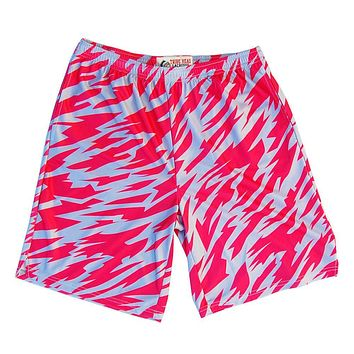 Red and Grey Two-Tone Camo Sublimated Lacrosse Shorts