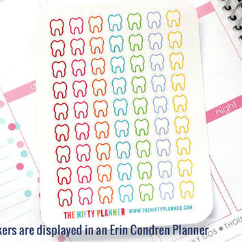 Dentist Stickers - 63 Planner Stickers - 1 Sheet | Stickers for your daily planner, calendar, agenda
