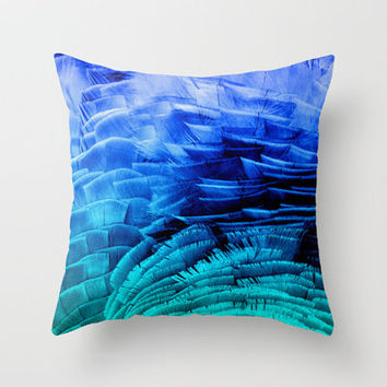 RUFFLED BLUE Throw Pillow by catspaws