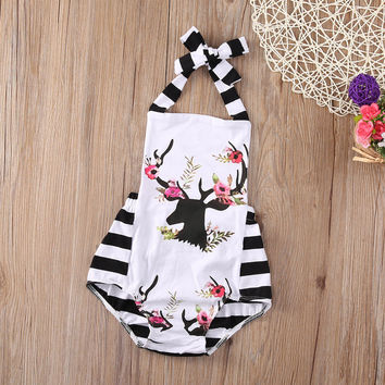 Newborn Baby Girl Clothes Xmas Reindeer Sleeveless lace Romper Striped Patchwork Playsuit Jumpsuit Outfit