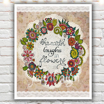 Natural Laughter - PAPER PRINT, earth laughs in flowers print, flower painting, mixed media, colorful typography, gardener gift