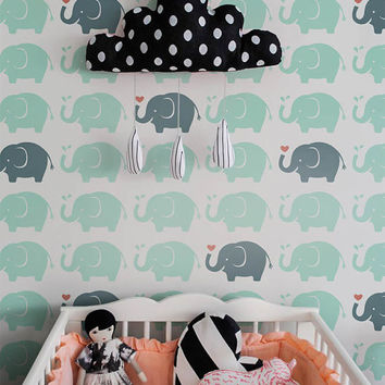 Elephant wall decal Self adhesive kids room wallpaper - PEEL and STICK removable vinyl Nursery wallpaper - OLB_034