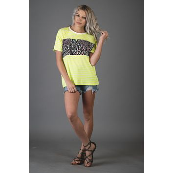 Neon Yellow Striped Top with Neon Colorblock Leopard