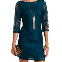 Three-Quarter Sleeve Bodycon Lace Dress - Light Blue