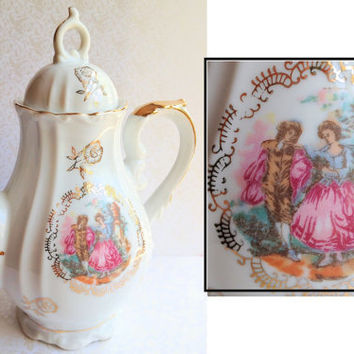 Vintage Porcelain White Teapot with Romantic by NicoleNicoletta