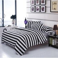 White & Black Stripe Duvet Cover Set Bedding Quilt Cover Pillowcases Set Twin/Full/Queen/King NO Comforter