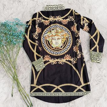 Versace New fashion people pattern print long sleeve dress women Black