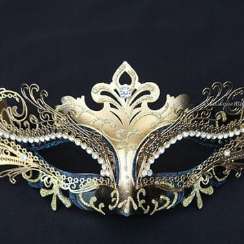 Metal Black Gold Masquerade Mask with Rhinestones -  Venetian Masks Laser Cut Metal Masquerade Ball Masks