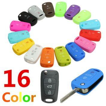 New 16 Colors Silicone 3 Button Remote Flip Key Case Fob Cover For Kia Sportage Soul ceed