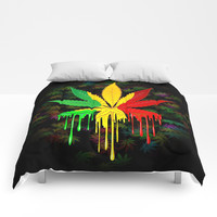 Marijuana Leaf Rasta Colors Dripping Paint Comforters by bluedarkatlem