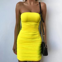 Summer New Fashion Solid Color Strapless Dress Women Yellow