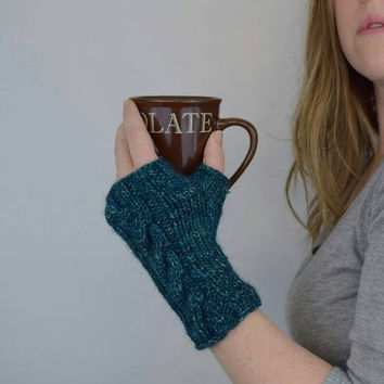 Knit Fingerless Mittens, Short Knit Gloves, Green/Blue with Sparkle, Hand Warmers with Cable Braid Pattern