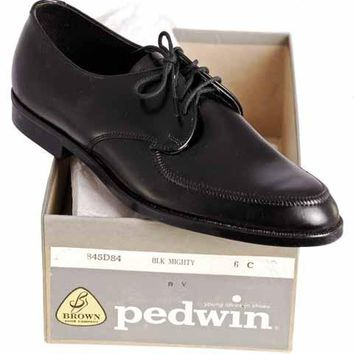 Vintage Boys Black  Oxford Pointed Toe Leather Shoes NIB 1950s