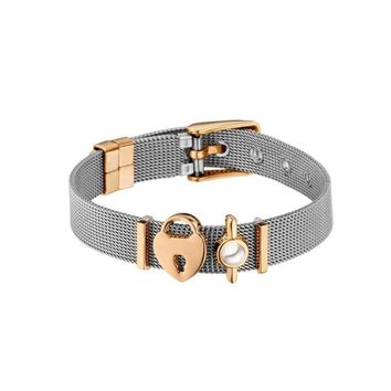 THE PERFECT MATCH Mesh Bracelet Set with Heart Disc Charms without watch without crystal cuff bangle women men jewelry #277072