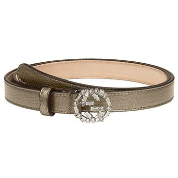 Gucci Women's Grey Metallic Leather Crystal Interlocking GG Buckle Belt, 38, Beige