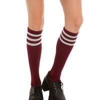 Burgundy And White Knee-High Crew Socks