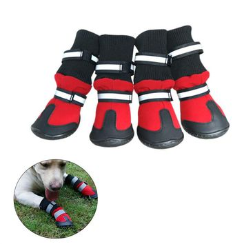 Anti Slip Pet Snow Boots Protective Shoes Dog Rain Booties (Red)