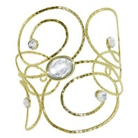 Jeweled Arm Band Armband Armlet, in Gold with Clear Finish