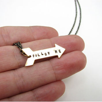 arrow necklace - follow me - hand stamped jewelry